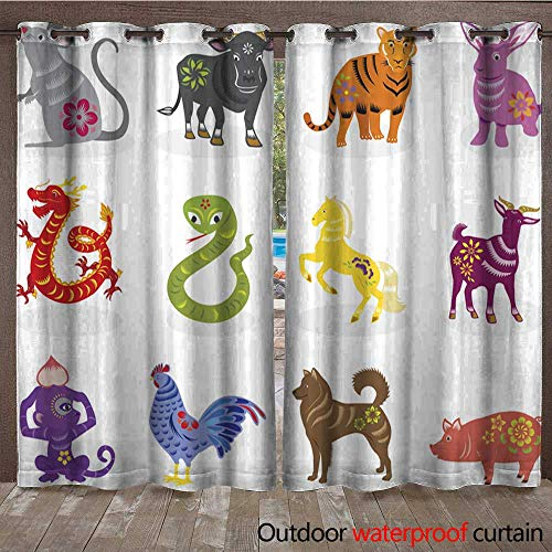 BlountDecor Indoor Outdoor Curtain Chinese Zodiac Signs Waterproof CurtainW108 x L108