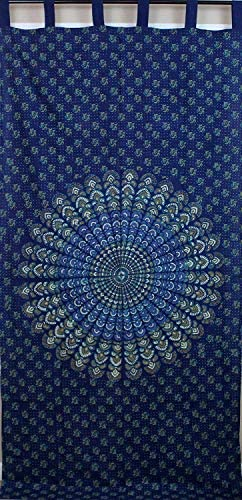 India Arts Tab Top Curtain Drape Cotton Sanganer Mandala Blue Green Gold Kitchen Curtains Door Panel 44×88 inches