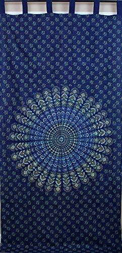 Blue Bursting Tab Top Curtain-Drape-Door Panel-Peacock ()
