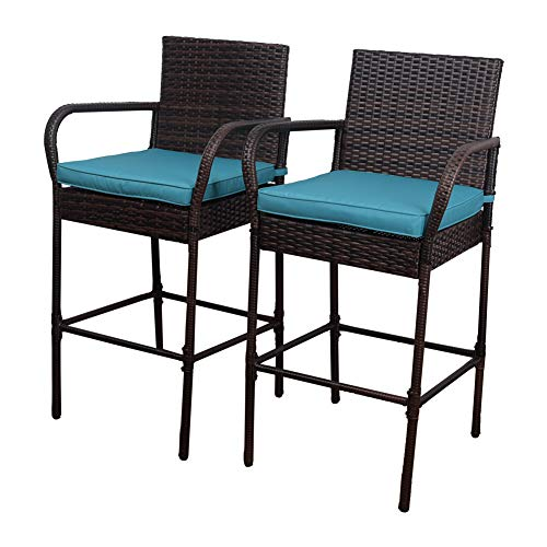 Sundale Outdoor 2 Pcs All Weather Patio Furniture Set Brown Wicker Barstool with Blue Cushions, Back Support and Armrest from Sundale Outdoor