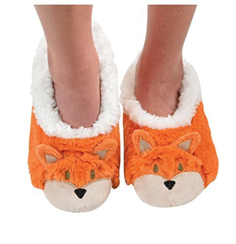 Snoozies Womens Animal Heads Sherpa Plush Fleece Lined Slipper Socks - Fox, Medium