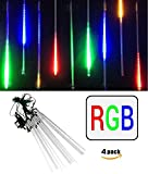 4-Pack LEDJump Linkable 20 Inch Long RGB Multi-Colors Snowfall Meteor Shower Lights 16FT Wire Extension Set of 12 waterproof transformer …