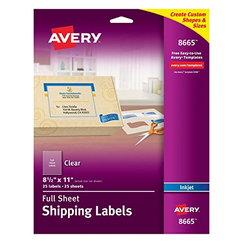 Avery Clear Full-Sheet Shipping Labels for Inkjet Printers 8-1/2' x 11', Pack of 25 (8665)