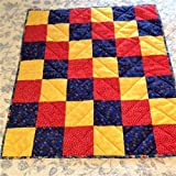 Flannel Nursery Baby Quilt Red Yellow and Blue 27'' x 30''