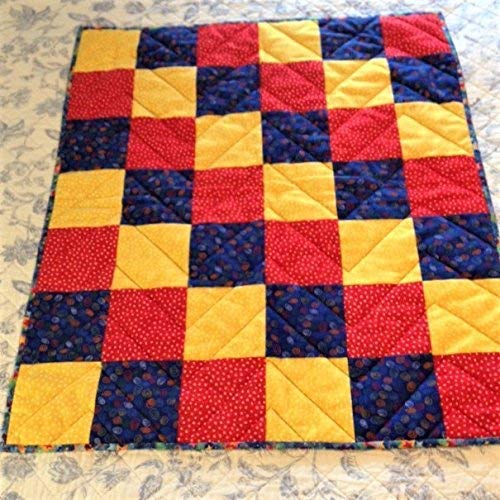 Flannel Nursery Baby Quilt Red Yellow and Blue 27'' x 30'' by Pinewater Quilting