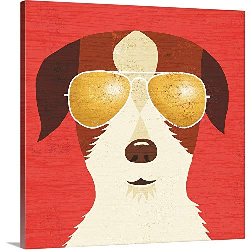GREATBIGCANVAS Gallery-Wrapped Canvas Entitled Beach Bums Terrier I by Michael Mullan 35