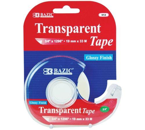 "BAZIC 3/4"" X 1296"" Transparent Tape w/ Dispenser"