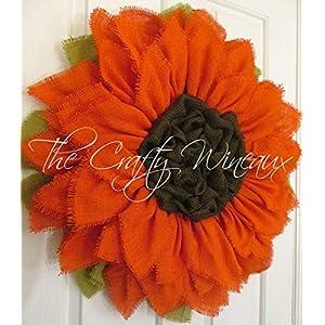 Extra Large 30″ Rich Tangerine Orange Burlap Sunflower Wreath by The Crafty WineauxTM
