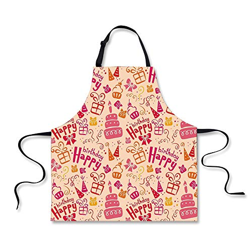 iPrint Cooking Apron,Birthday Decorations for Kids,Present Party Themed Cakes Cone Hats Swirls Art,Pink Orange and Hot Pink,3D Print Apron.29.5