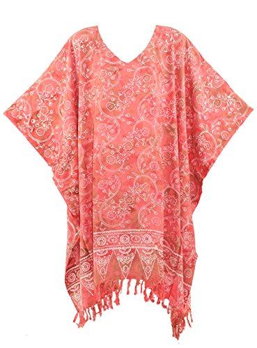 Beautybatik Coral Batik Caftan Kaftan Tunic Top Blouse 4X