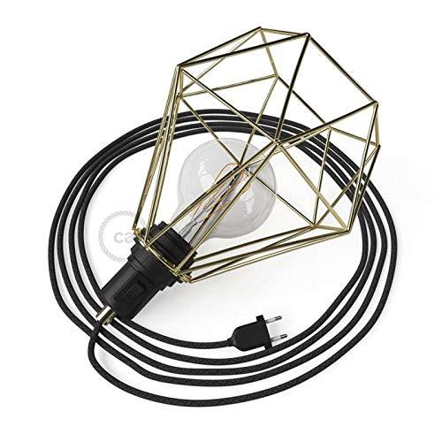 creative cables Table Snake con Pantalla Jaula Diamond latón y ...