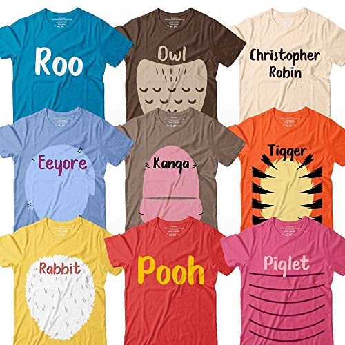Winnie Bear And Friends Roo-Owl-Robin-Eeyore-Kanga-Tiger-Rabbit-Bear-Piglet Halloween Costume Matching Group Team Squad Family Customized Handmade Hoodie/Sweater/Long Sleeve/Tank Top/Premium T-shirt