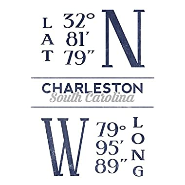 Charleston, South Carolina - Latitude and Longitude (Blue) (12x18 Gallery Quality Metal Art)