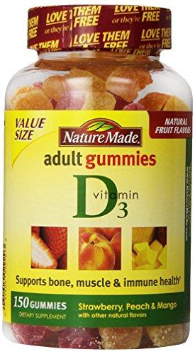 Nature Made adultes Gummies vitamine D3, la valeur Taille, 150 comte, fraise, pêche et mangue