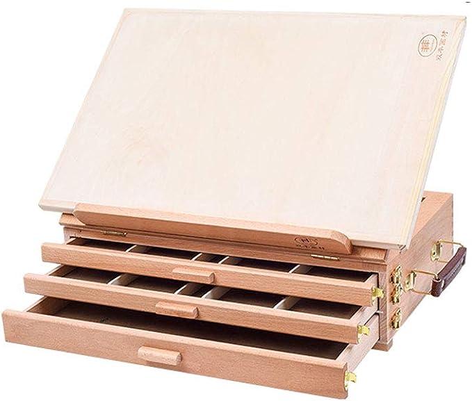 /Öl-Staffelei f/ür den Schreibtisch tragbar tragbar aus Holz mit Schublade klein