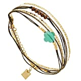 Bracelet multi-tours Trèfle et Chaîne, Zag bijoux (vert)