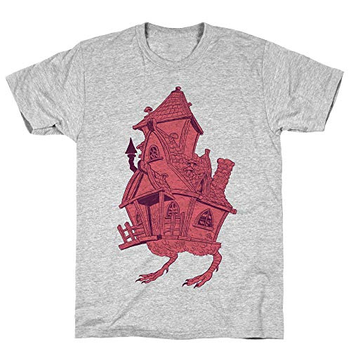 LookHUMAN Baba Yaga's House Large Athletic Gray Men's Cotton Tee