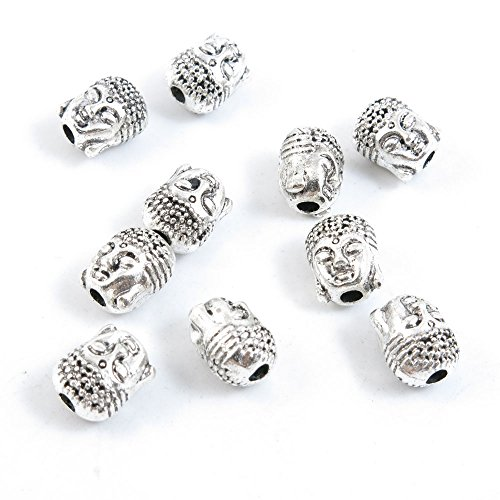 (Qty 430 Pieces Antique Silver Tone Jewelry Making Supply Charms Findings F1DX2 Buddha Head Loose Beads)