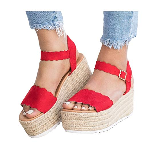(Womens Espadrilles Platform Sandals Open Toe Scalloped Flatform Ankle Strap Dress Shoes Red)