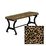 "Wood and Metal 18"" Tall Universal Bench with a Padded Seat Cushion Featuring Your Choice of an Animal Print Fabric Covered Seat Cushion (Cheetah Small Cotton)"