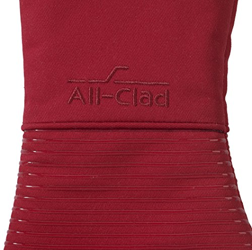 All-Clad Textiles Deluxe Heat and Stain Resistant Oven Mitt. Made of Silicone Treated Heavyweight 100-Percent Cotton Twill, Machine Washable, 14 x 6.5 Inches, Chili Red by All Clad Textiles (Image #2)