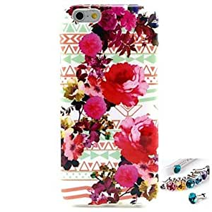 QJM Flowers Pattern TPU Back Cover Case and Dust Plug for iPhone 6
