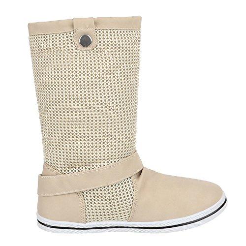 Ital-Design Damen Schuhe, X-19, Stiefel Boots Beige