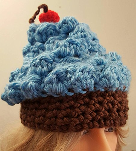 Crochet cup cake hat. Made by Bead Gs on AMAZON. fits average ages 4 to 10 average years old.