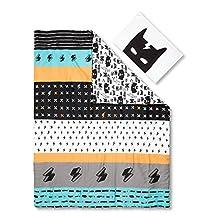 South Shore Furniture 100097 Dreamit Superheroes Reversible Twin Comforter & Pillowcase, Black/White, 2 Piece