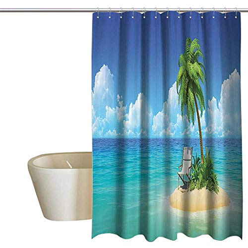 - Coastal Decor Collection Waterproof Bathtub Curtain Desert Chaise Lounge Solitude Rest Holiday and Tropic Resort Beach Leisure Image Large Shower Curtain W36 x L72 Navy Blue Green