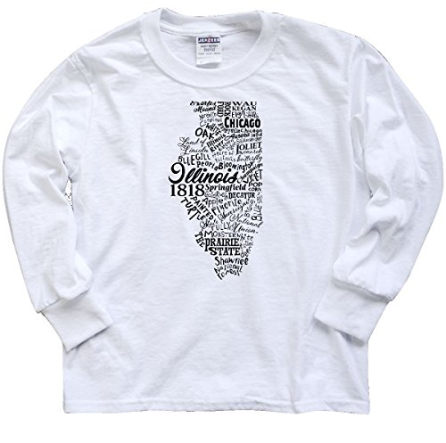 inktastic Illinois Word Youth Long Sleeve T-Shirt Youth Large White - Hare To O Chicago