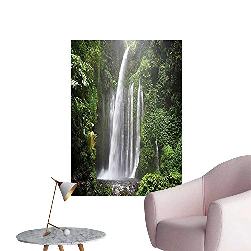 Vinyl Artwork Rainforest Waterfall in Indonesia Tropical Trees Adventure Picture Accessories Easy to Peel Easy to Stick,32