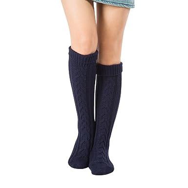 Kootk 1 Par Rodilla Alto Calcetines Mujeres Tejer Bota Medias Pierna Más cálido Niña Encima Rodilla Calcetines Azul oscuro: Amazon.es: Ropa y accesorios