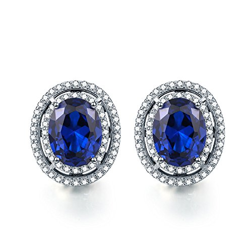 Pegaffi 925 Sterling Silver Created Gemstone Women s Halo Stud Earrings 1.89Ct, Oval 8x6mm