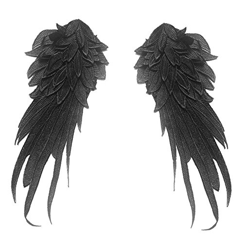 1Pair Black Embroidered Angel Wings 15.8x6.2 inch (Black-Large)]()