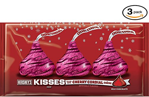 HERSHEY'S Holiday Kisses Milk Chocolate with Cherry Cordial Crme 3 Bags of 8.5 Ounces (25.5 Ounce)