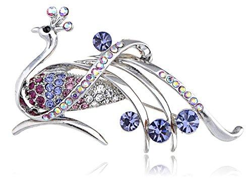 - Alilang Amethyst Purple Rhinestone Crystals Peacock Feather Bird Brooch Cute Fashion Pin