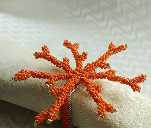 Quaeas Qn16061411 Orange Coral Napkin Ring, Wedding Napkin Holder, 4 Pcs Set