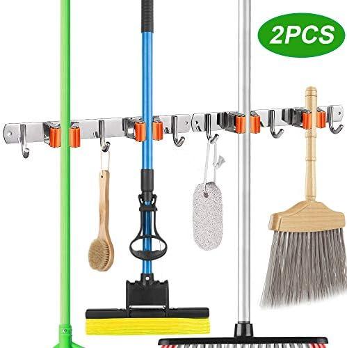 Mop Broom Holder Wall Mount Organizer Storage Easy Install Screws or Self Adhesive Stainless Steel Tools Hanger for Kitchen Bathroom Closet Office Garden2 Racks 3 Hooks (2 Pack Orange)