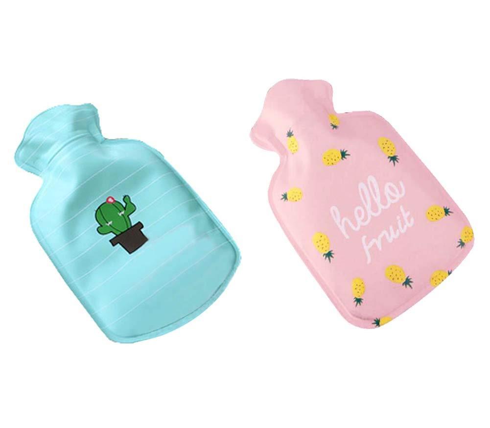 Set of 2 Cuddly Mini Hot Water Bottle/Hand Warmer (Random Pattern), 100 ML