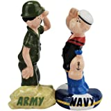 Westland Giftware Army Navy Salute Magnetic Ceramic Salt and Pepper Shaker Set, 4.25-Inch
