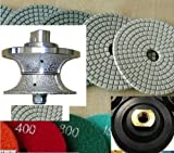 V40(1-1/2''/ 40mm) Bullnose Diamond Hand Profiler / Router Bits And FREE GIFT Diamond 5 Inch Granite Polishing Pads 8+1 Pieces for concrete marble Damo