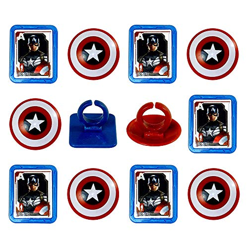 Marvel Captain America Shield Rings, 12 Pack Cupcake Toppers, Two Designs. ()