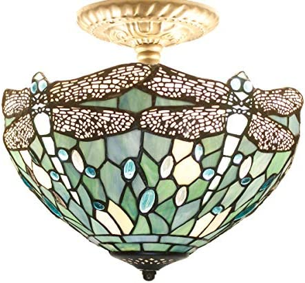 Tiffany Ceiling Light Fixtures 12 Inch Stained Glass Lampshade Semi Flush Mount Sea Blue Dragonfly For Living Room Bedroom 2 Bulb Small Hanging Pendant Chandelier Mission Antique Style S147 WERFACTORY