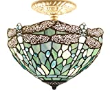 Tiffany Ceiling Fixture Lamp Semi Flush Mount 12 Inch Blue Drangonfly Stained Glass Shade for Dinner Room Pendant Hanging 2 Light