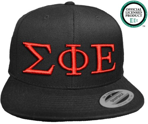 SIGMA PHI EPSILON Flat Brim Snapback Hat Red Letters / SigEp   Sig Ep Frat   Fraternity Cap