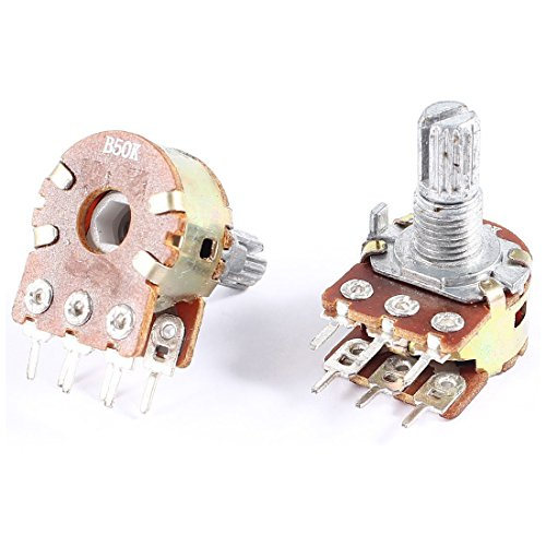 Potentiometer - SODIAL(R) 2 Pcs B50K 50K Ohm 6 Terminals Dual Linear Rotary Taper Potentiometers