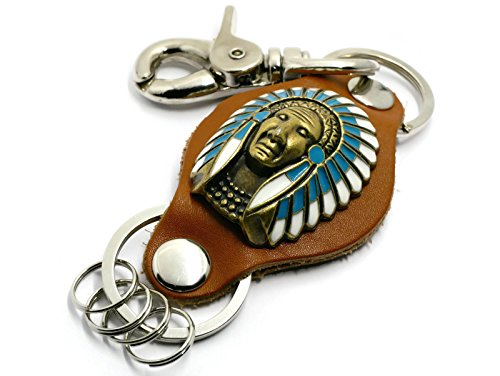 BrownBeans, Native Americans Indian Southwestern Mens Belt Loop Hook Leather Keychain Ring Holder (BBKC19001) (A01) by BrownBeans Keychains