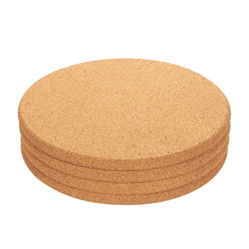 4-Pack Cork Trivet Set - Round Corkboard Placemats Kitchen Hot Pads for Hot Pots, Pans, and Kettles, 9 x 9 x 0.5 Inches