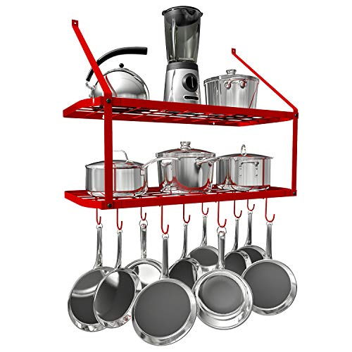 Small Iron Pot Rack (VDOMUS Pots and Pans Rack Wall Mounted Hanging Pot Shelf - 2 Tier (Red))